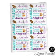 Woodland bear baby name blanket, woodland fox personalized name blankets, teal and purple, boy or girl blanket, baby shower gift, personalized name blanket, (CHOOSE COLORS)