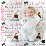 Girl Forest Animals Name Blanket, personalized baby gift, photo prop blanket, baby blanket, personalized blanket, choose colors