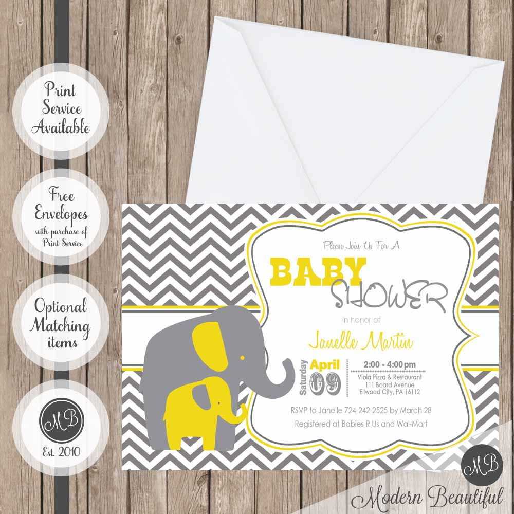 Yellow and gray chevron elephant baby shower invitation elephant yellow and gray elephant invitations filmwisefo