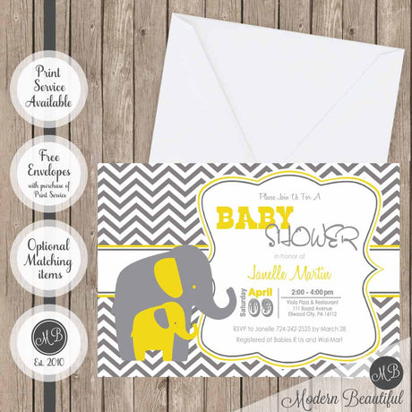 Neutral baby shower invitations modern beautiful yellow and gray chevron elephant baby shower invitation elephant gender neutral shower invitation elephant theme baby shower invitation filmwisefo Choice Image