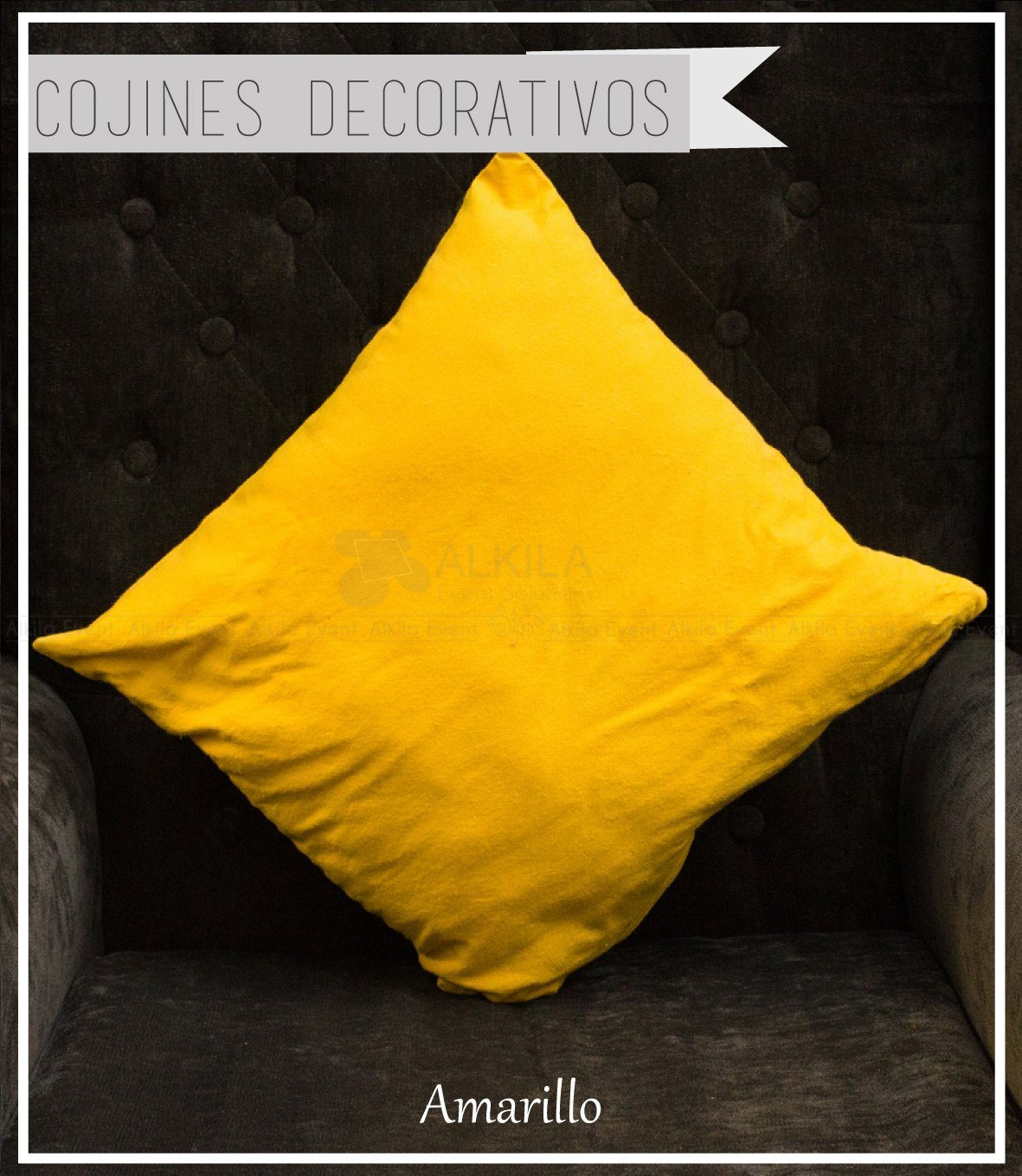 Cojín Decorativo color Amarillo (42cm x 42cm)