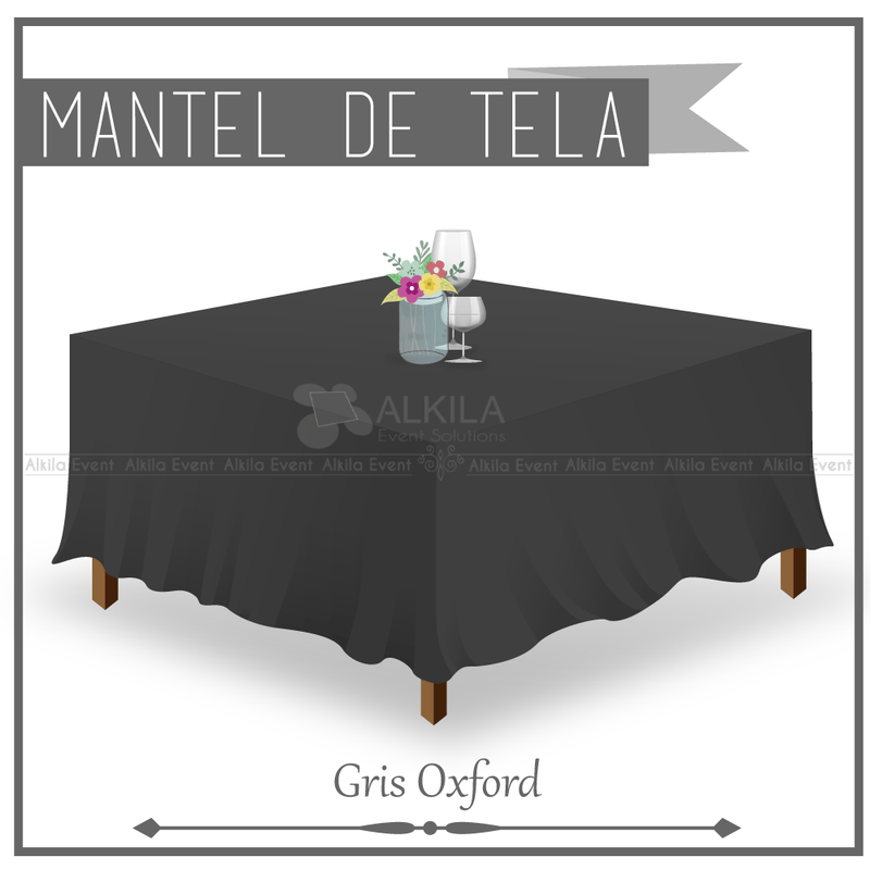Mantel de Tela Cuadrado color Gris Oxford (Renta)