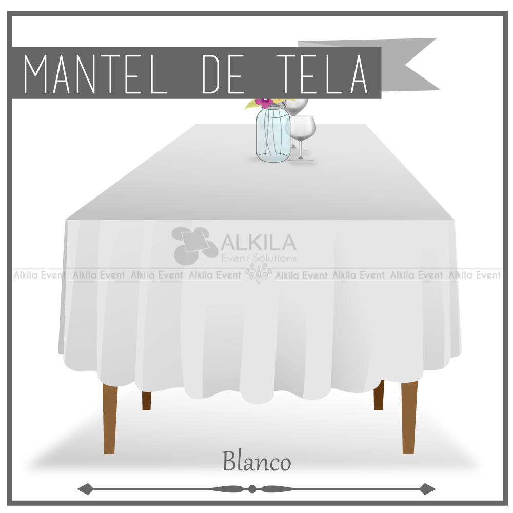 Mantel de Tela para Tablon color Blanco (Renta) AlkilaEvent