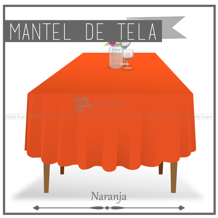Mantel de Tela para Tablon color Naranja (Renta) AlkilaEvent