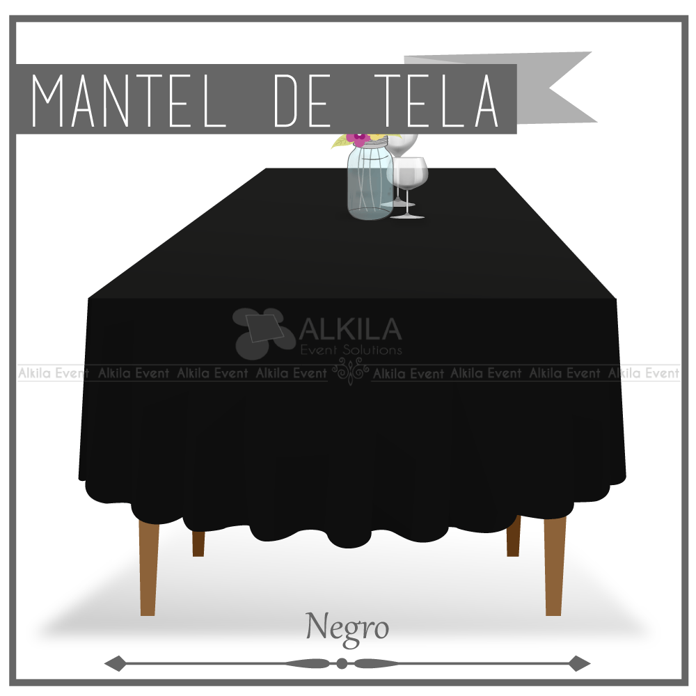 Mantel de Tela para Tablon color Negro (Renta)