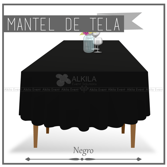 Mantel de Tela para Tablon color Negro (Renta) AlkilaEvent