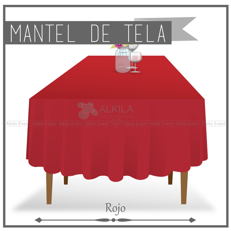 Mantel de Tela para Tablon color Rojo (Renta) AlkilaEvent