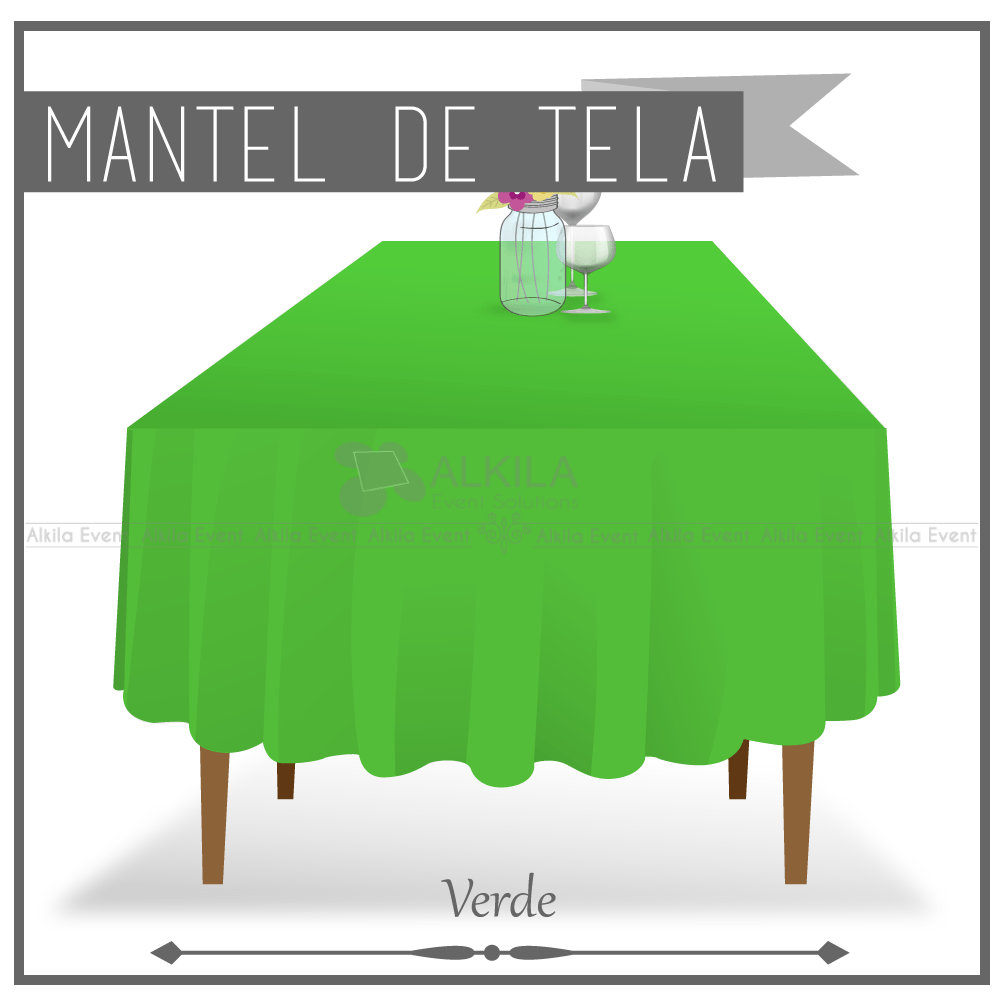 Mantel de Tela para Tablon color Verde (Renta) AlkilaEvent