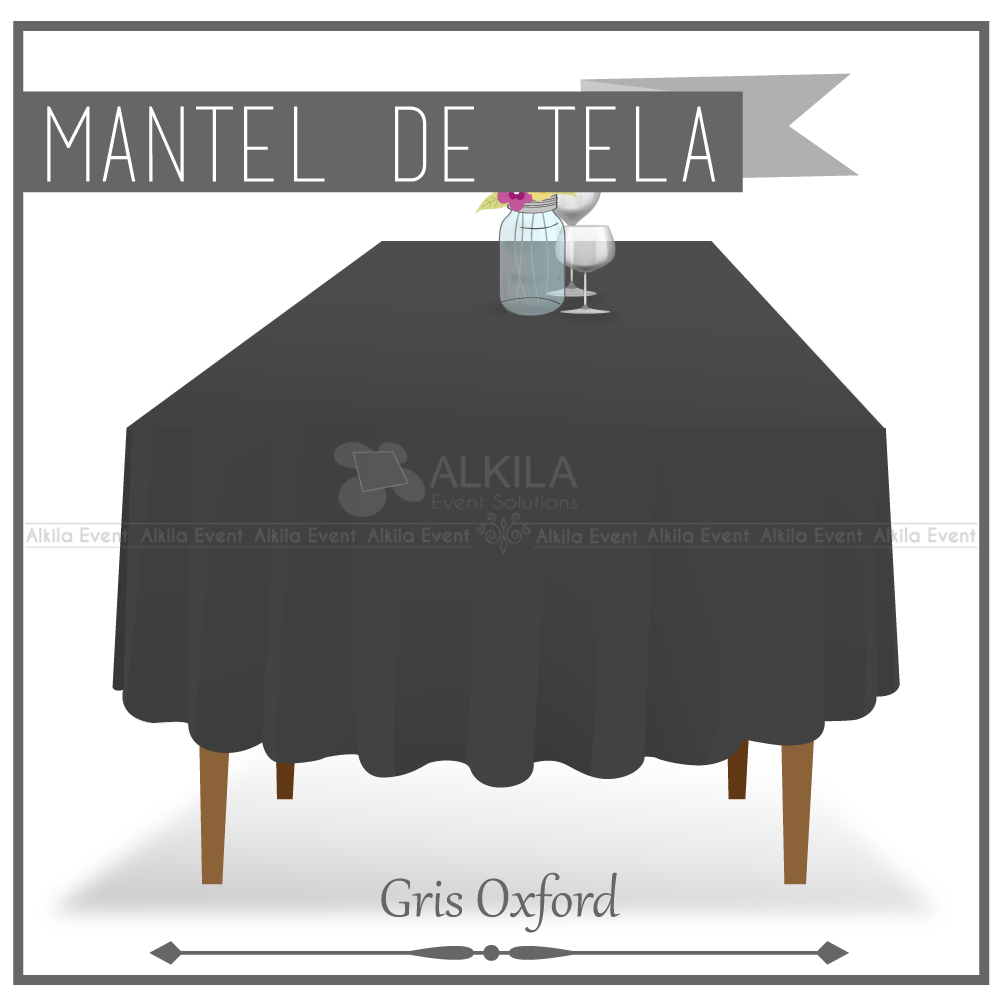 Mantel de Tela para Tablon color Gris Oxford (Renta)