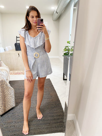 ruffle trim buckle romper