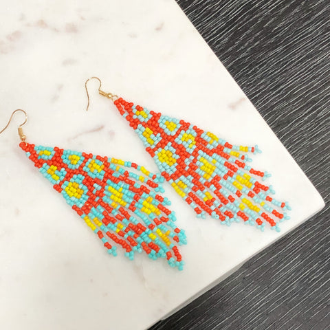 multi turquoise earring