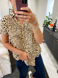 leopard classic button up top