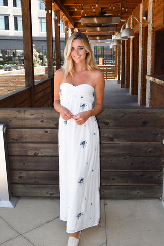 starlight floral print strapless maxi