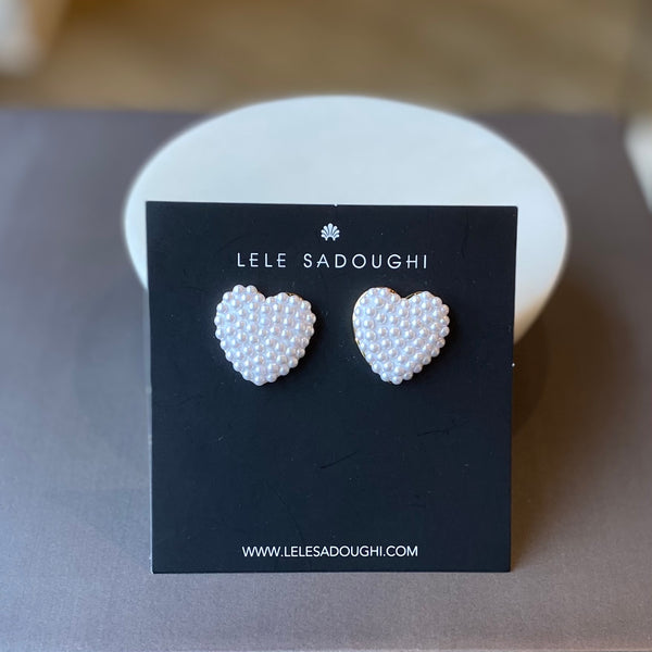 jeweled heart button earrings