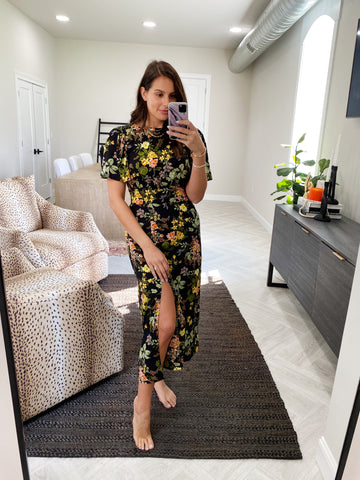 night bloom floral midi dress