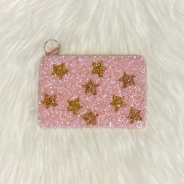 pink gold stars coin purse