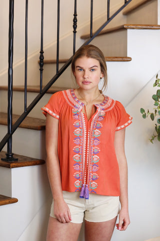 elina embroidered smock top
