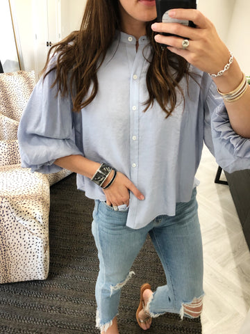 Cecilia puff sleeve button down