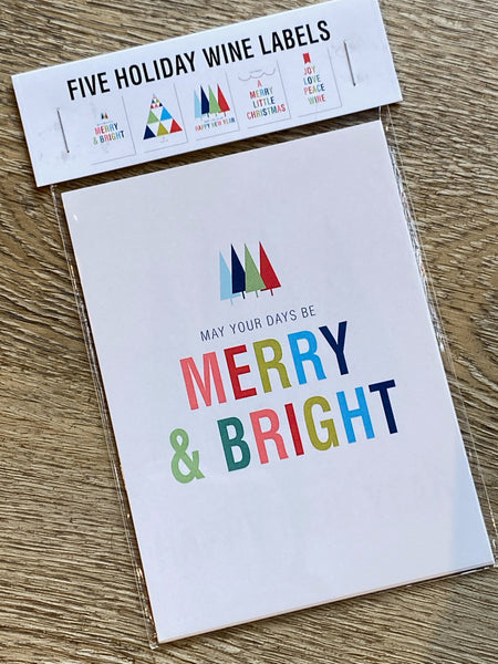 merry and bright wine labels