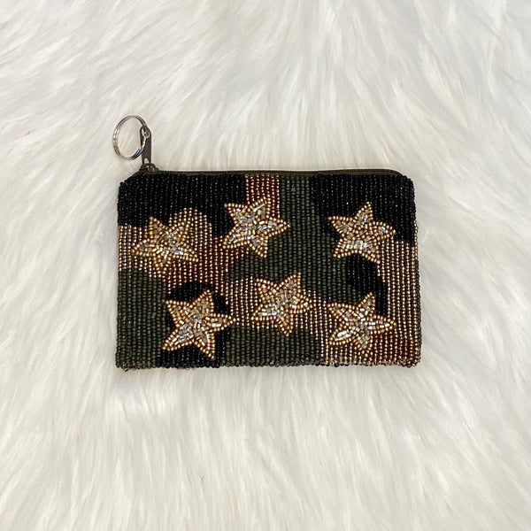 black gold star coin purse
