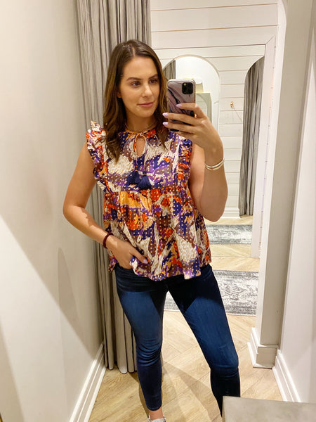 piper printed ruffle top