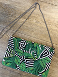 leaf & zebra bead clutch