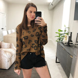 leopard crew lightweight sweater