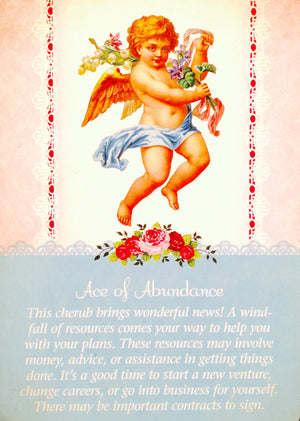 "Ace Of Abundance: ""This cherub brings wonderful news! A windfall of resources comes your way to hep you with your plans."