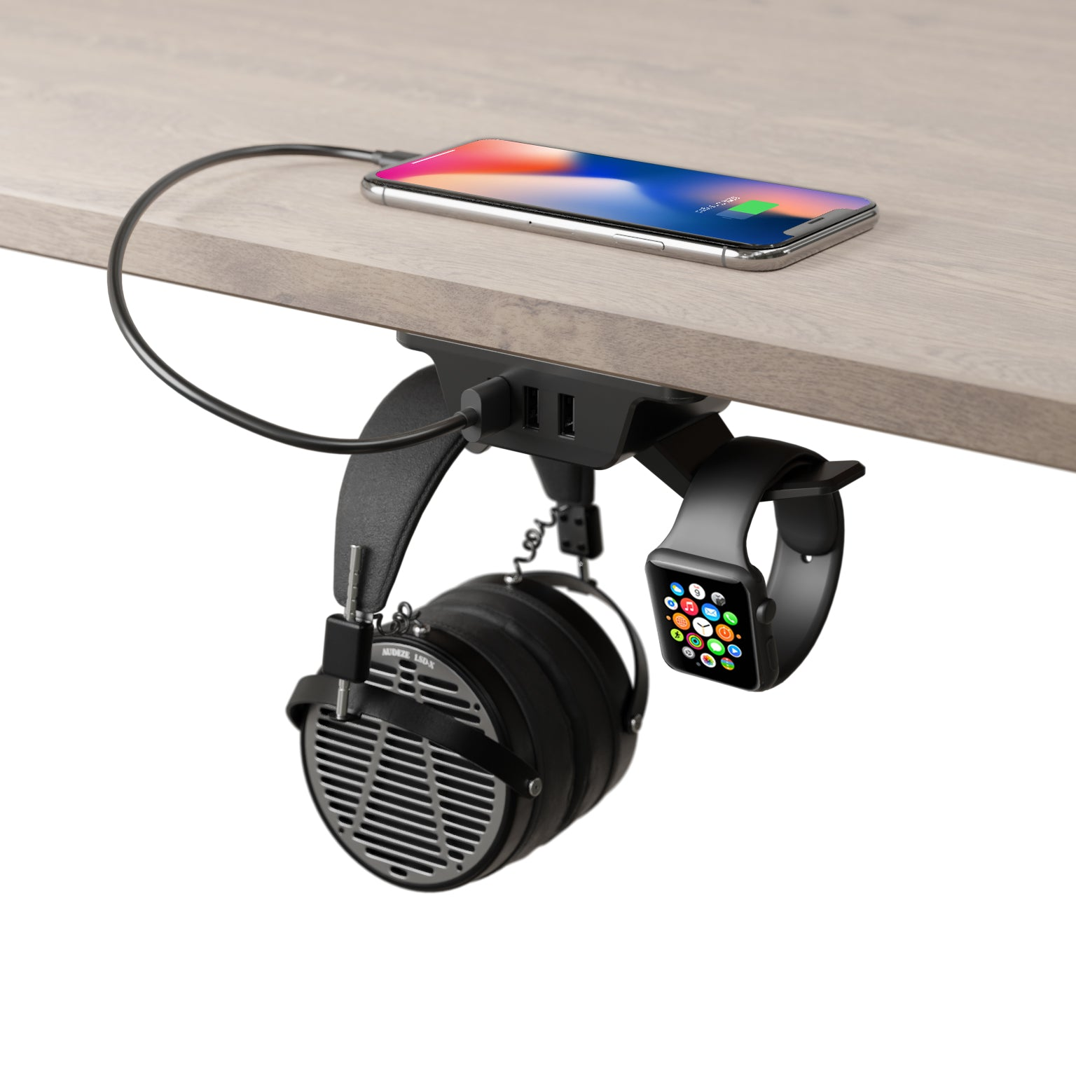 Headphone Hanger with USB Charger