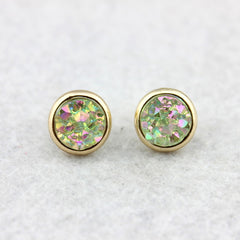 Pink Druzy Earrings Gold Flake Stud Earrings