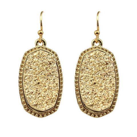 Oval Druzy Drop Earrings, Handmade 11 Colors Options