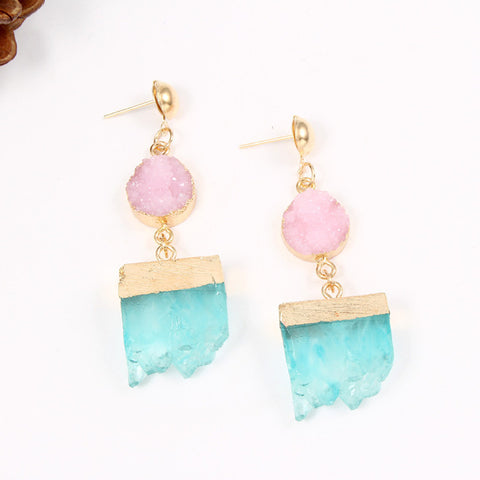Druzy Irregular Drop Resin Stone Geometric Earrings