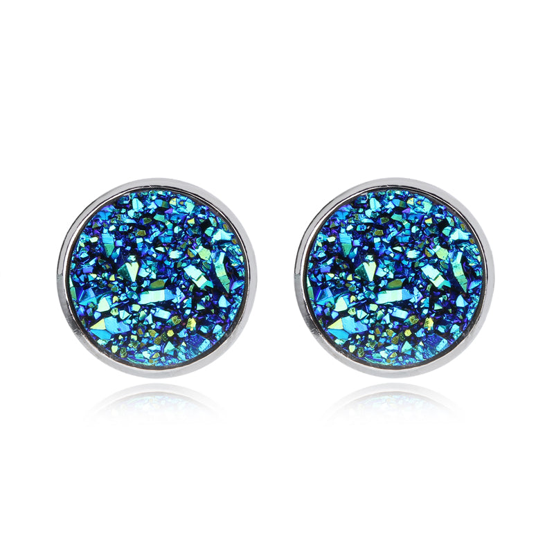 Druzy Blue Fish Scale Ear Studs Earrings