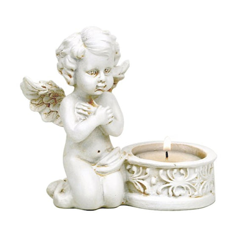 Angel with tea light holder