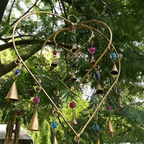 Hanging Heart Ironwork With Beads and Bells