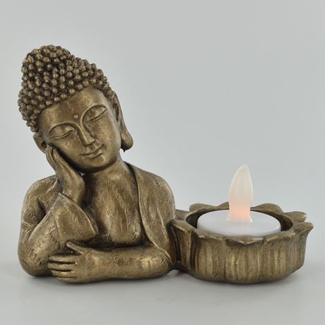 Resting Gold Buddha Tea Light Holder