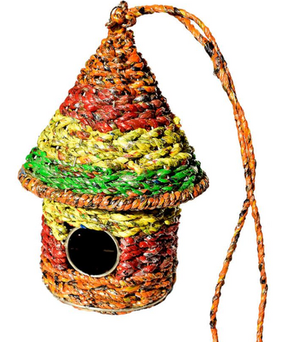 Hanging Recycled Multicoloured Bird House
