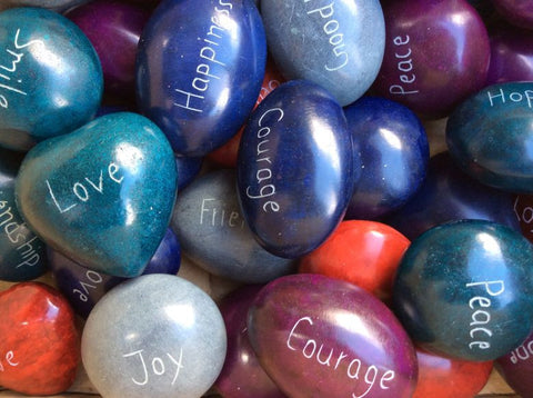 Fairtrade Soap Stone Pebbles With Different Messages