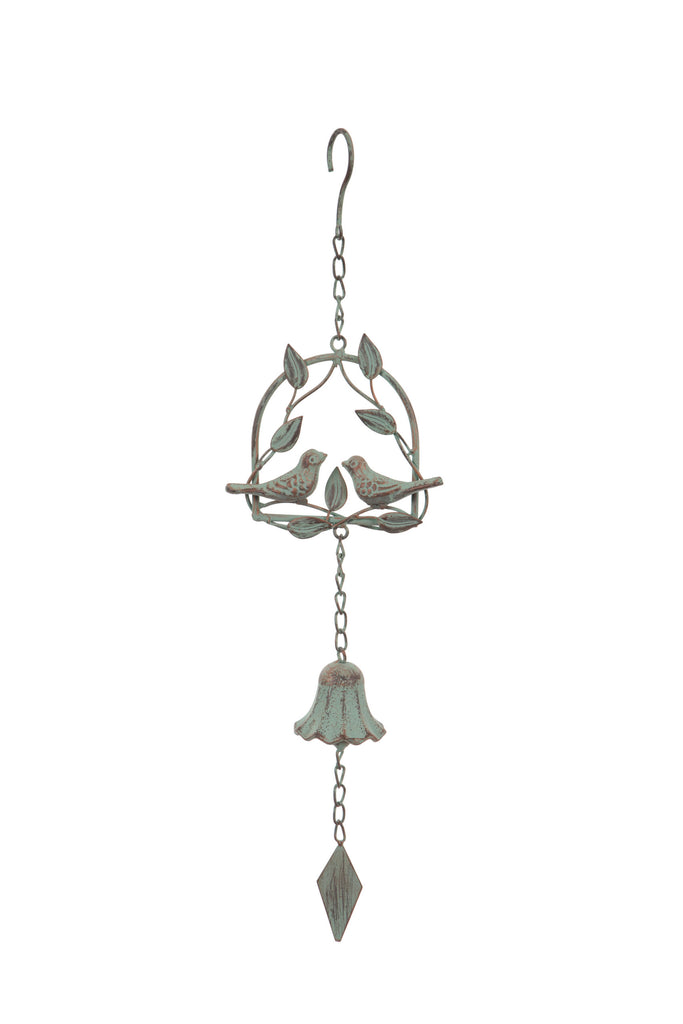Hanging Metal Love Birds Wind Chime