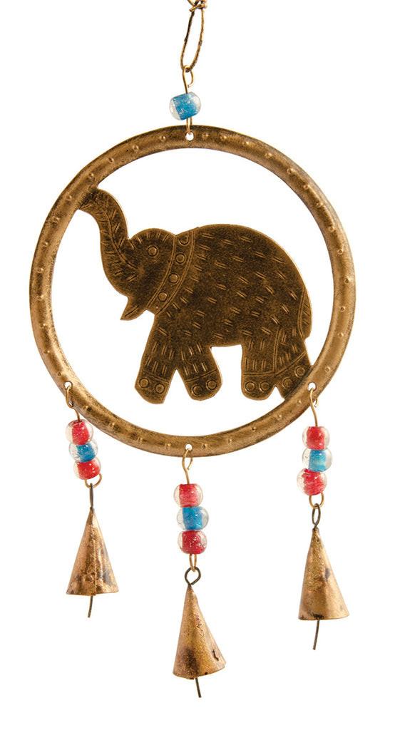 Hanging Elephant windchime with bells and beads