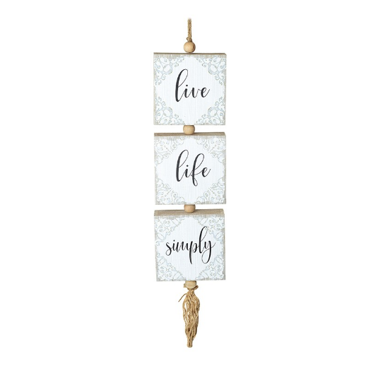 Live Life Simply Hanging Wooden Block on Rope