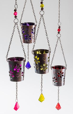 Hanging Iron and glass tea lights with flower decoration