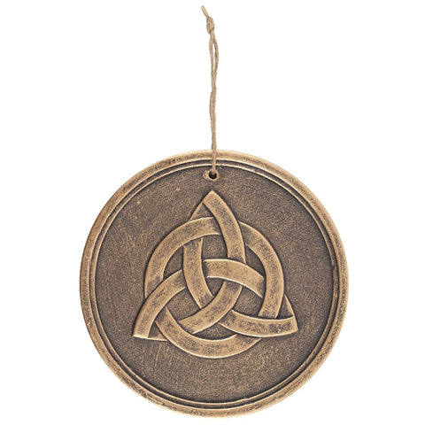 Hanging Terracotta Triquetra Plaque.  21 cm