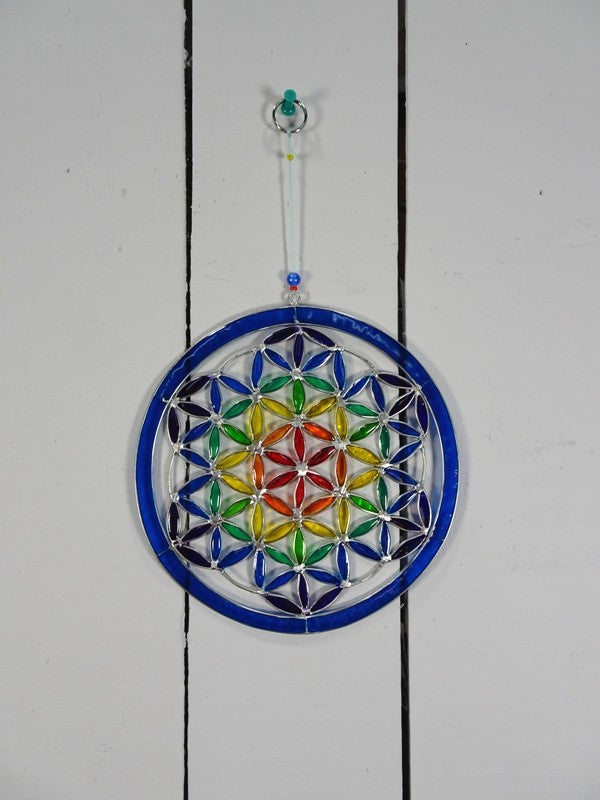 Hanging Multicoloured Flower of Life Suncatcher
