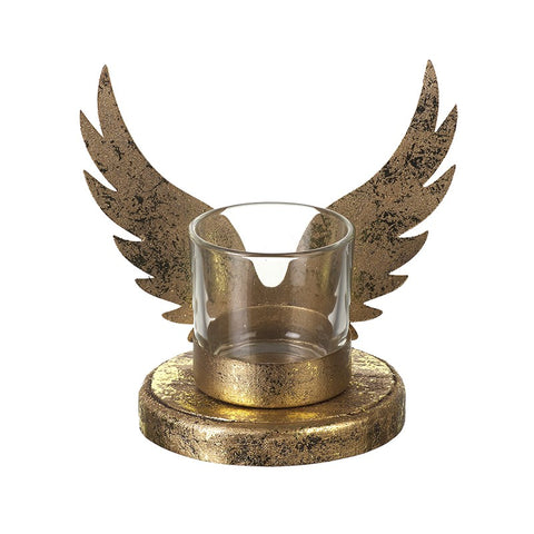Gold Angel Wing Tea Light Holder