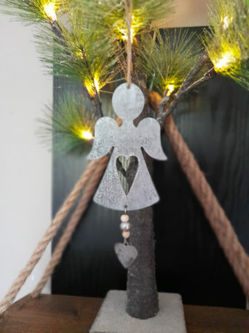 Hanging Metal Angel With Heart Decoration