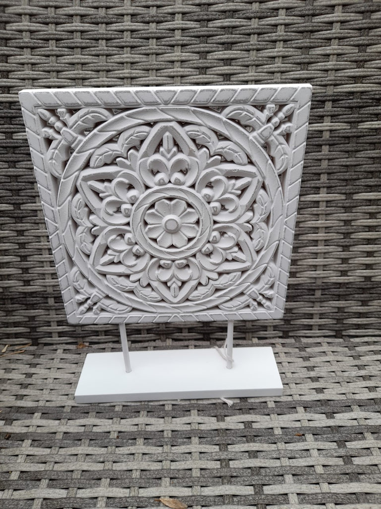 Wooden Mandala Plaque on Stand