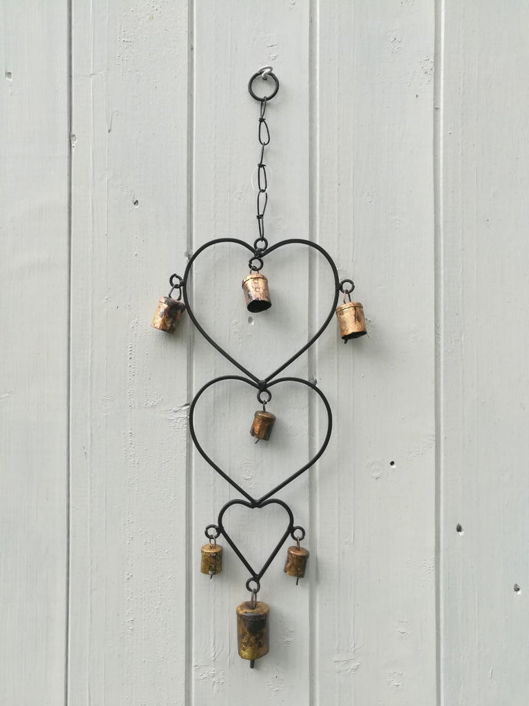 Windchime with three Hearts and bells