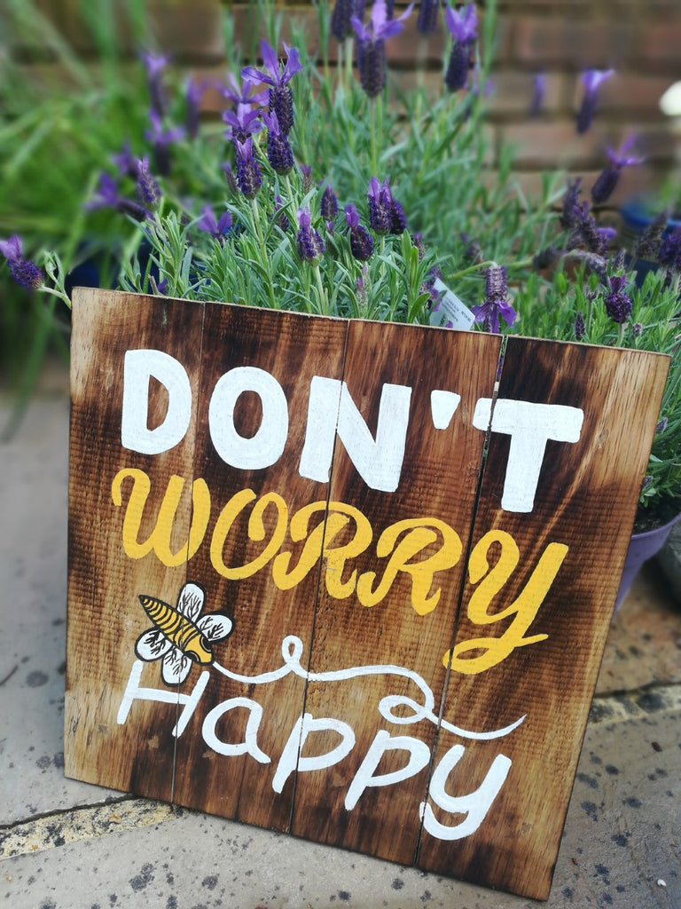 Don't Worry Be Happy Wooden Wall Sign 30 cm