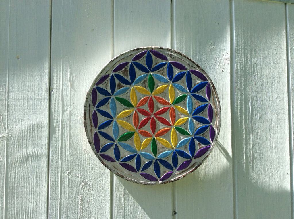 Vibrant Flower Of Life Plaque